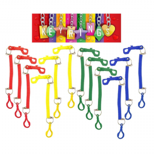 12 x Spiral Plastic Keyrings With Double Hooks - Wholesale Bulk Buy